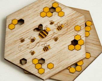 Items Similar To Bee Party Decorations Honeycomb Hexagon Coasters