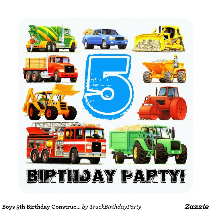Boys 5th Birthday Construction Truck Party 5.25x5.25 Square Paper Invitation Card
