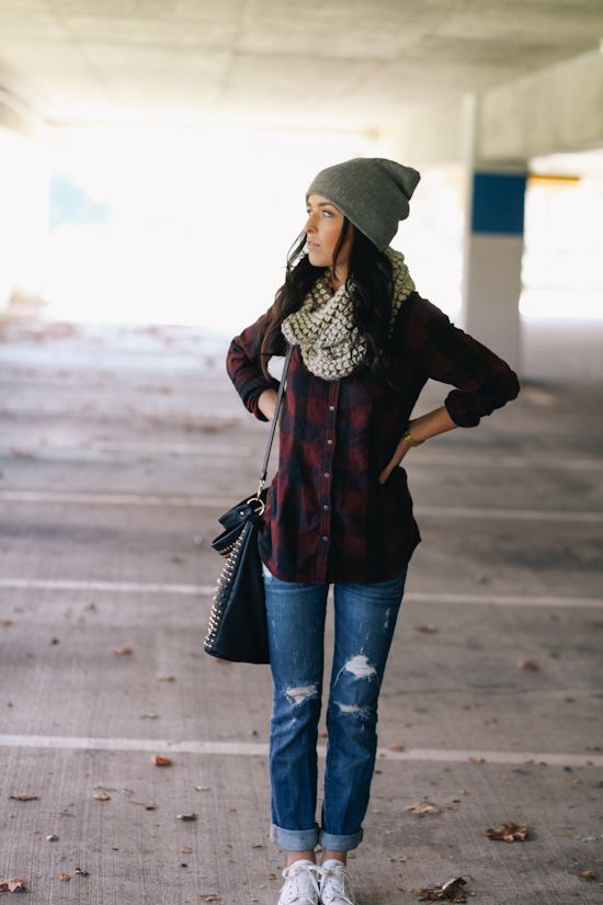 Casual look - plaid, chunky hat and scarf, rolled pants, sneakers.