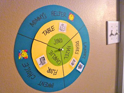 """3 person chore wheel - I like the idea of """"mommy's helper"""" on this one, maybe for dinner prep?"""