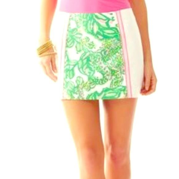 Lilly Pulitzer Seeing Pink Elephants Mini Skirt Seeing Pink Elephants pattern. Size 4. Never worn. Tags remove. Excellent condition. Adorable Gold Palm tree zipper. Listed for less on Ⓜ️ercari app. Lilly Pulitzer Skirts Mini