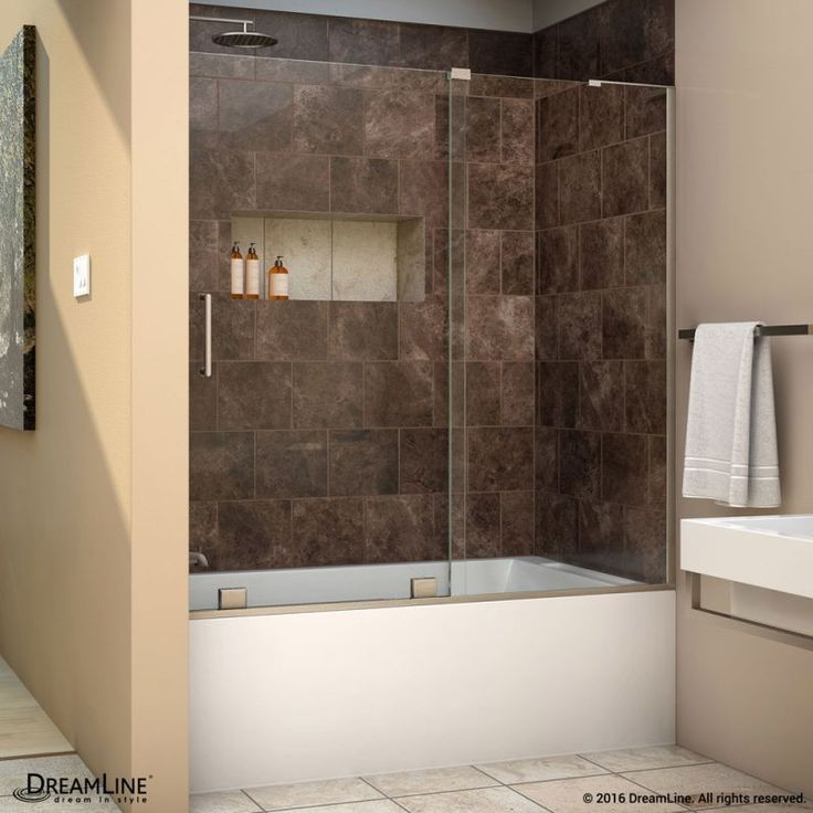 "DreamLine SHDR-1960580R Mirage-X 58"" High x 60"" Wide Right-Wall Sliding Frameles Brushed Nickel Showers Shower Doors Sliding"