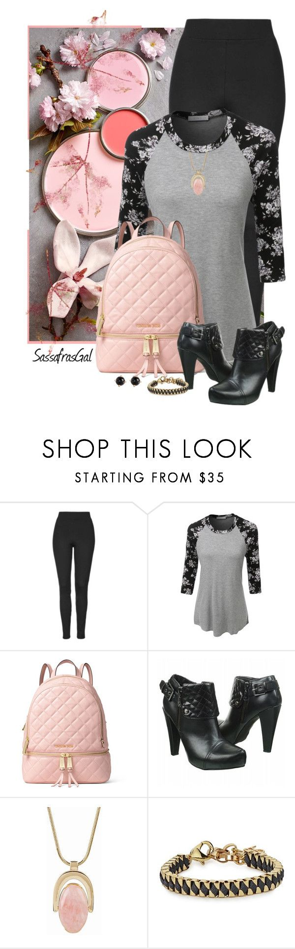 """Touch of Pink"" by sassafrasgal ❤ liked on Polyvore featuring Topshop, LE3NO, MICHAEL Michael Kors, Talbots, John & Pearl and Irene Neuwirth"