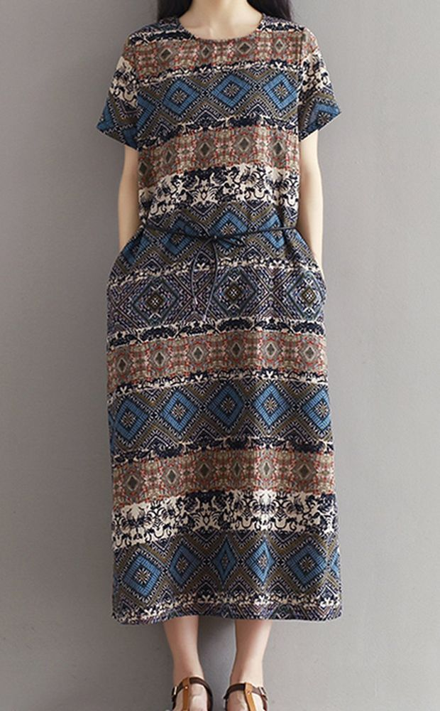 Women loose fit over plus size ethic flower linen dress long tunic skirt casual #Unbranded #dress #Casual