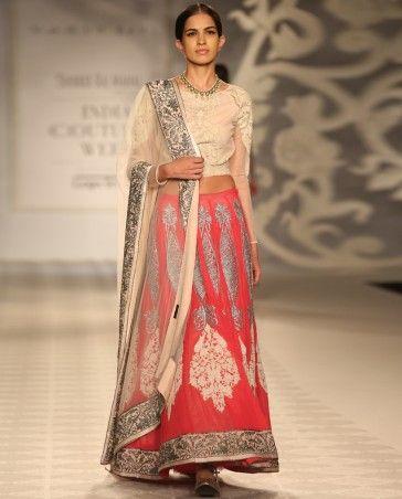 Fuchsia Lengha Set with Ivory Dupatta - Varun Bahl - Designers