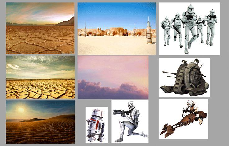 """Fotomontaje, creando un escenario de la película STAR WARS,  donde los protagonistas son los """"Stormtroopers"""""""