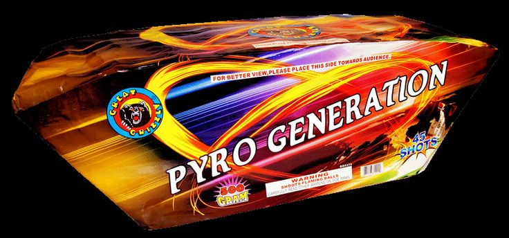 Pyro Generation 45 Shot - North Central Industries - www.greatgrizzly.com -MUNCIE INDIANA WHOLESALE FIREWORKS •Category: 500 Gram Cakes •Item Number: 1485 •Package Contents: 2 •Dimensions: 26 x 9 x 9 •Weight: 29lbs Brand Name: Great Grizzly DESCRIPTION: Brocade crown king mines on both sides, blue mines, colorful dahlia, crackling rain, 4 shots in the middle, 3 crackling willow, 3 shots green glittering mine on each side to red dahlia and silver rain!