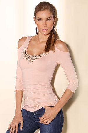 Help support Living Beyond Breast Cancer and purchase our Embellished ruched cold-shoulder top today!  #bostonproper #LBBC #breastcancerawareness