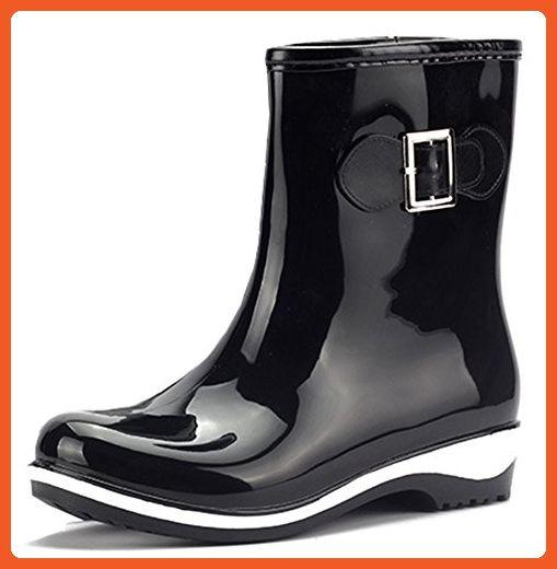 IDIFU Women's Waterproof Low Heels Short Rubber Boots Rain Wellies Wellington Shoes Black 7 B(M) US - Boots for women (*Amazon Partner-Link)