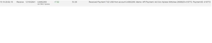 Here is my Withdrawal Proof from AdClickXpress. I get paid daily and I can withdraw daily. Online income is possible with ACX, who is definitely paying - no scam here. Date: 29/02/2016 15.16 To Pay Processor Account: U9530412 Amount: 7.92 Currency: USD Batch: 121632841 Memo: API Payment. Ad Click Xpress Withdraw 2690825-418772