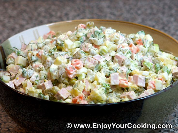 Russian Salad (Olivier): I make this with smoked ham instead of bologna (ew) and chopped dill pickles instead of the cucumbers.