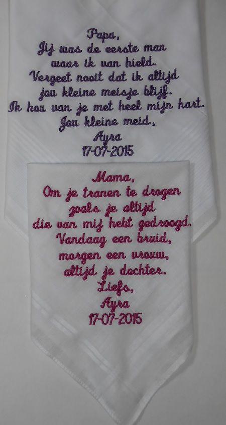 papa en mama zakdoek (wedding) http://www.bruiloftzakdoekje.nl