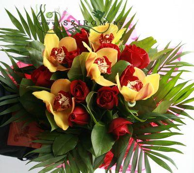 vörös rózsa sárga orchideával (15 szál) - Szirom