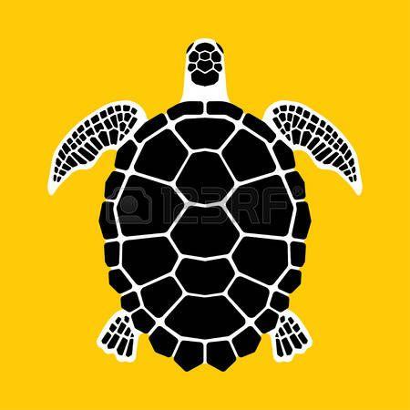 tatuaggio tartaruga: tartaruga marina su sfondo giallo, illustrazione vettoriale.