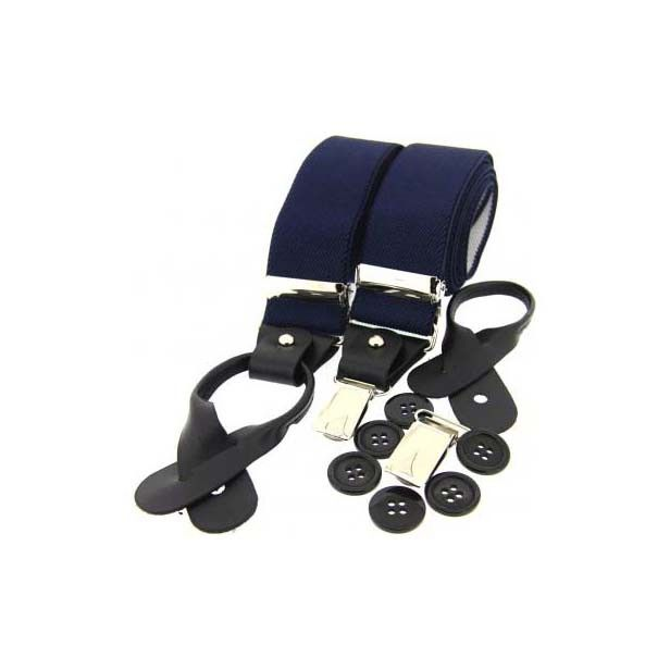 A fantastic pair of Braces, made from Navy BlueThis pair of Braces would make a memorable gift for a groom, usher or best man. Our Soprano range features a collection of Luxurious Ties, Cufflinks, Cravats, Cummerbunds, Braces and Handkerchiefs. A range of colours and styles are available to provide accessories to compliment any suit, outfit or occasion.
