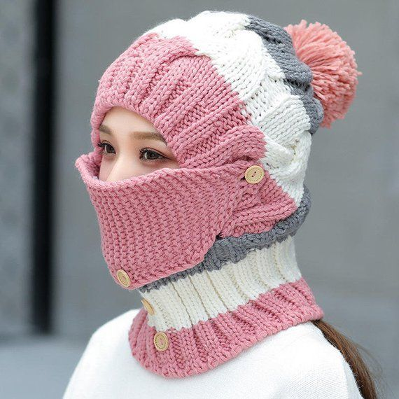 Women Hat Knit Warm Windproof Cat Winter Fur Cap Wool Plus Velvet Ski Cap