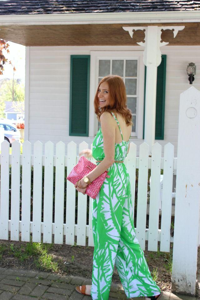 Lou Harvey bag & Lilly Pulitzer for Target green patterned jumpsuit