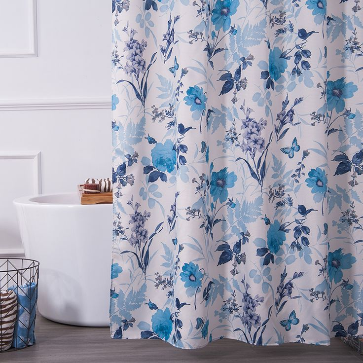 Eco Friendly 7171 Floral Water Resistant Fabric Bathtub Shower Curtain Liner With