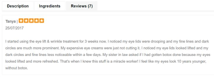 Another great review that we just received on our website... this one is for our Hibiscus Miracle Eye Lift & Wrinkle Treatment!
