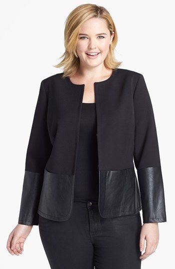 Anne Klein Faux Leather Trim Jacket (Plus Size)
