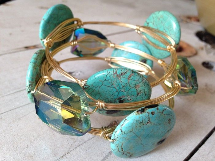 Learn to make these trending bangles with wire wraps around each stone .    Introduction Usually, I preferred making these fun bangles without making wraps around each stone. But after experimenting around with different stones I have found that sometimes the larger stones do need a little extra support underneath them. In this post, we are going to revise the original bangle how to and add some stylish and functional supporting wire wraps.    You Will Need:  1 Kitchen Glass for Bracelet…