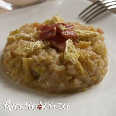 Risotto ai porri con verza e bacon http://www.ricettesenza.it/le-ricette/item/155-risotto-ai-porri-con-verza-e-bacon.html