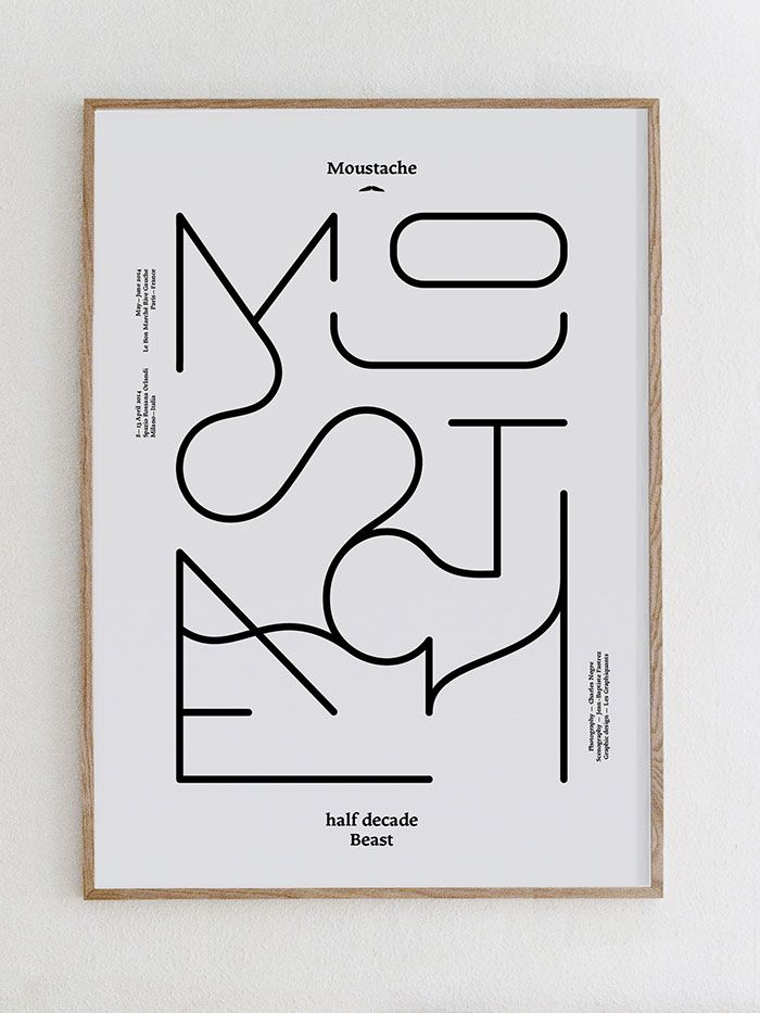 Moustache, typography, poster, linear, layout
