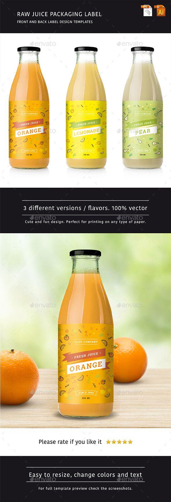 Raw Juice Label Design Template - 3 Flavors - Vector EPS, AI Illustrator