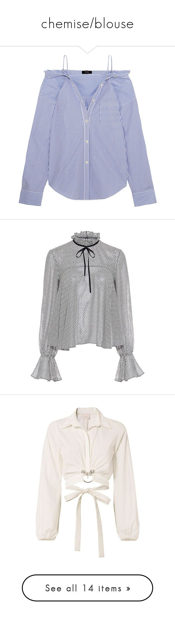 """""""chemise/blouse"""" by hautediorhoe ❤ liked on Polyvore featuring tops, blouses, shirts, blusas, blue, button up shirts, blue blouse, blue shirt, off shoulder blouse and off the shoulder shirts"""