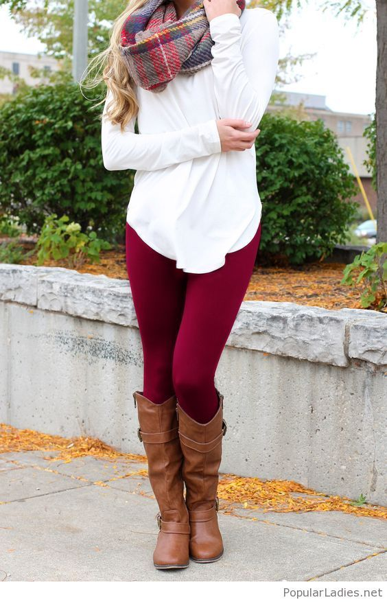 burgundy-pants-and-a-white-blouse-with-brown-boots