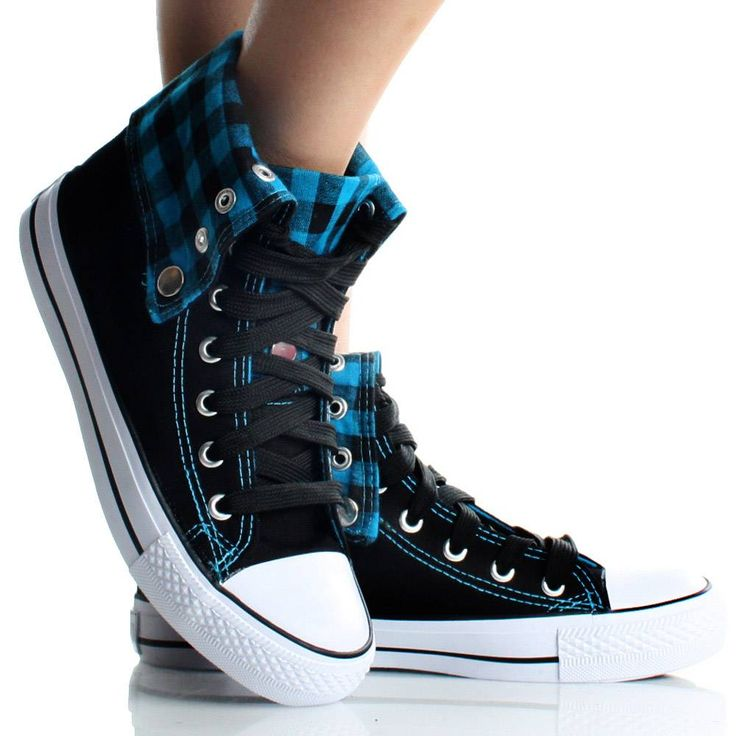 Womens High Top Sneakers Canvas Skate Shoes Blue Plaid -3308