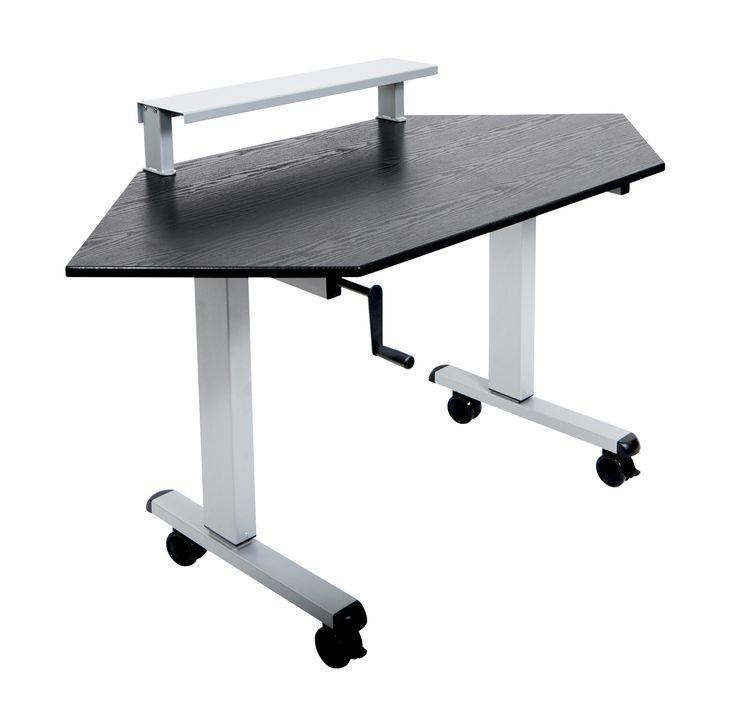 crank adjustable stand up corner desk on wheels perfect computer desk for that unused corner