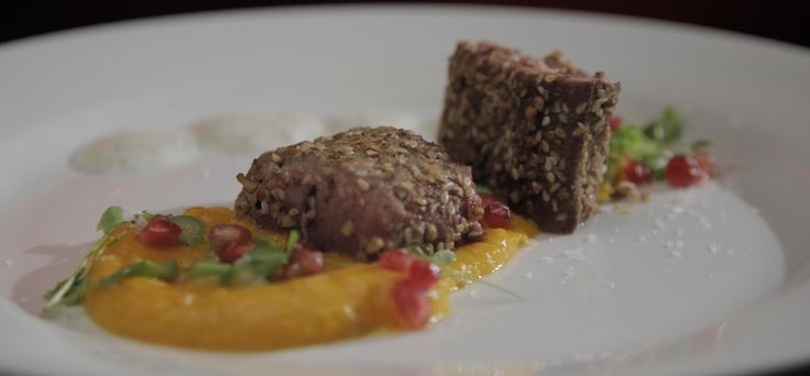 Ep 31 Eva and Debra: Dukkah-Crusted Lamb with Sweet Pumpkin Purée and Mint Yoghurt
