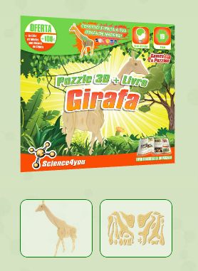 PUZZLE 3D + LIVRO GIRAFA Descobre:  A diversidade de animais que podes encontrar no nosso planeta - Características e curiosidades sobre as girafas - Como se comportam as girafas em manada - Como construir um fantástico puzzle 3D de uma girafa