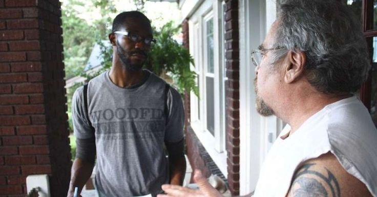 "UPDATE: Randall Woodfin led a 12-candidate field in Tuesday's election, winning 41 percent of the vote. Two-term incumbent William Bell captured 37 percent. Since neither candidate reached the 50 percent required to win, the two men will face off in an Oct. 3 runoff.Mike Hamilton opens his door in a sleeveless Harley Davidson shirt. He's got a shaggy goatee and a big grin. ""Randall Woodfin!"" the 63-year-old web developer says before any introductions."