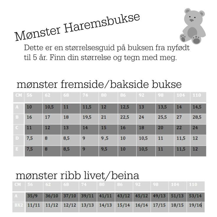 Da var mønsteret til haremsbuksa endelig klart. Jeg har laget størrelsesguid fra 0 til 5 år, så d...
