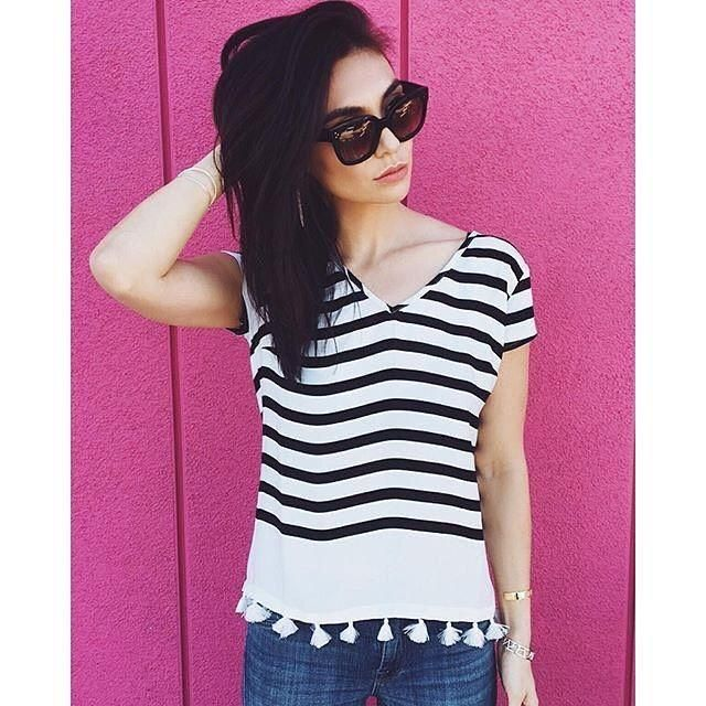 Loving tassels and stripes on  @thoughtfulmisfit. Shop the look.