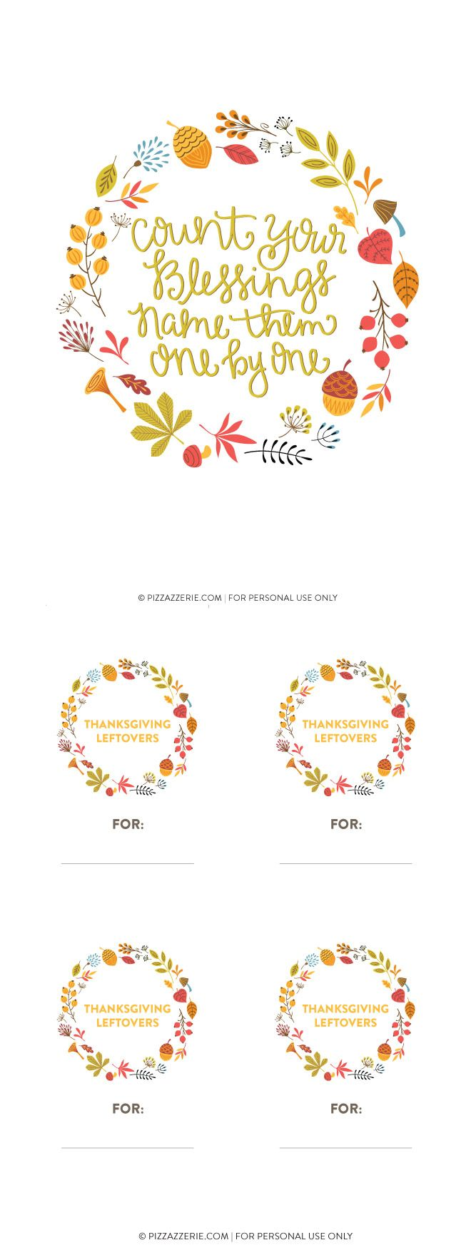 Free Thanksgiving Printable Collection, art prints, banners, leftover labels!