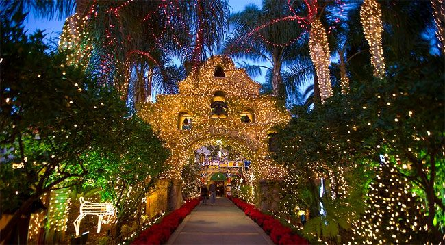 Christmas lights at the Mission Inn Hotel in Riverside, CA