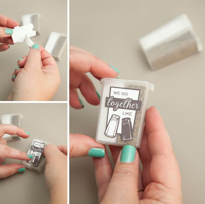 "Make your own ""we go together like salt and pepper"" wedding favors - cheap too!"