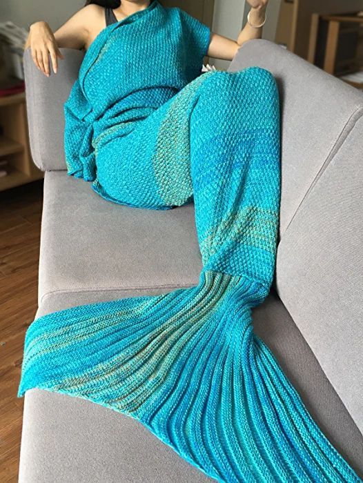 Tiaobug Handgemachte Häkeln Meerjungfrau Flosse Decke Schlafsack, Wohnzimmer Sofa Bett Decke für Erwachsene Frauen und Kinder (Für Erwachsene, Blau)