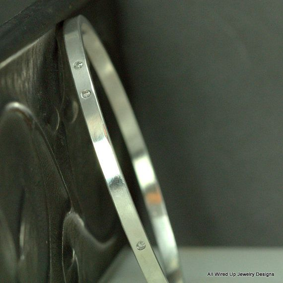 Diamond Bangle  3 Diamond Bangle Bracelet  Sterling by PPennee, $245.00