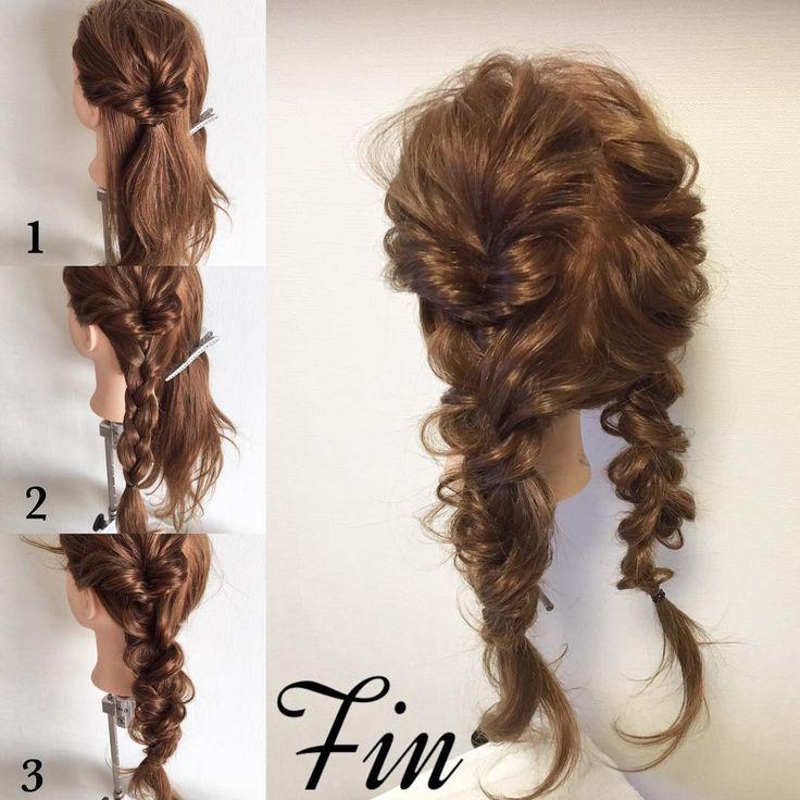 ヘアアレンジ Fukuoka hair salonさんはInstagramを利用しています:「#mayahairNO81 のアレンジのやり方です♪(๑ᴖ◡ᴖ๑)♪ 【アレンジプロセス】 ①髪を左右に分けてまずは左サイドの耳上をクルリンパします。 ②①の下を三つ編みしていきます。 ③三つ編みした部分を、三箇所ほどクルリンパします。 ※#mayahairアレンジ動画…」