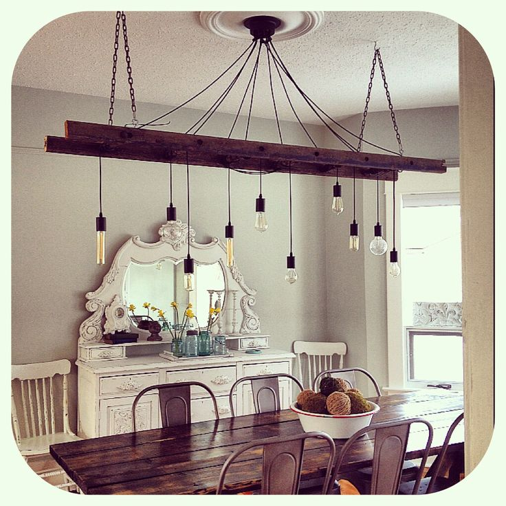 Edison bulb chandelier ladder light industrial lighting for 3 light dining room light