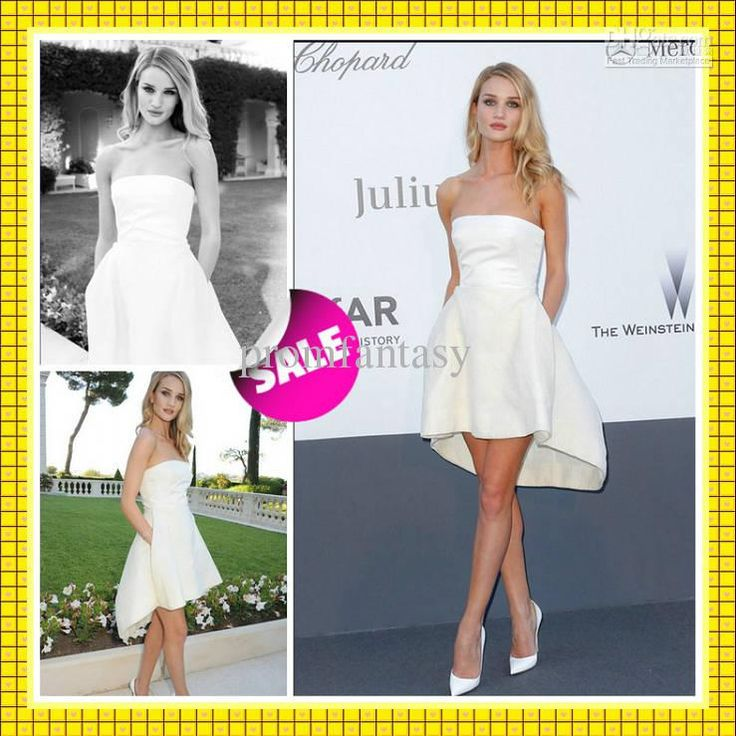 Perfect  Rosie Huntington Whitely Cannes Celebrity Wear Short Sexy Beach Bridal Party Style Strapless High Low Cheap Casual Wedding Dress Beach