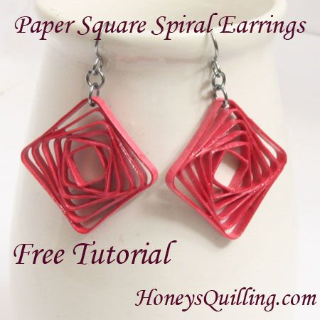 Free tutorial for paper square spiral earrings - using the Border Buddy - Honey's Quilling