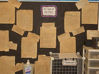 """American Revolution unit explained by Stephanie, 5th grade CA teacher. She includes reference to some of her students' research resources. This bulletin board """"My Side of the Story"""" displays writing by students who took a role of either Patriot or Loyalist. Follow the link to read more about more elements of this unit."""