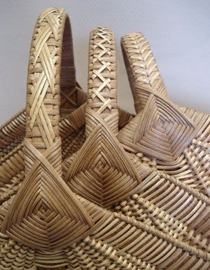 Ribbed Hearth Baskets with Fancy Cane Handles Pattern - Bowers