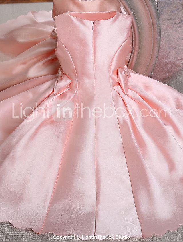 Salón Hasta la Rodilla Vestido de Niña Florista - Satén Sin Mangas Joya con 2016 - $1115.97