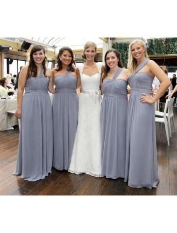 Een Schouder Chiffon Bruidsmeisjes Jurken